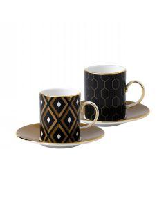 Wedgwood Arris Espressokopp m/Skål 2pk (Geo/Honeycomb)